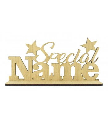 Laser Cut Oak Veneer Personalised 'Special...' Sign on Stand with Stars