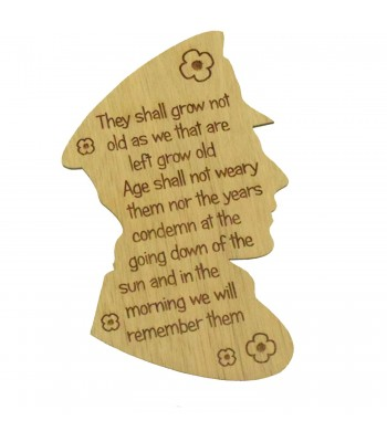 Laser Cut Oak Veneer Engraved 'They shall grow not old...' Soldier Head Plaque