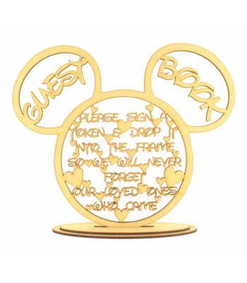 Laser Cut Mouse Head 'Guest Book' Drop Box Instruction Quote Sign on a stand