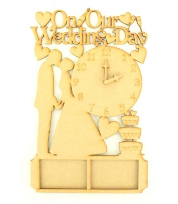 Laser Cut 'On Our Wedding Day' with clock and photo frames - MR & MRS