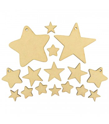 Laser Cut 3mm Bargain Pack Of 16 Star Shapes - Various Sizes