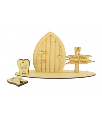 Laser Cut Tooth Fairy Door on a Stand with Tooth £1 and £2 Holders - Heart Design