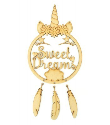 Laser Cut Unicorn 'Sweet Dreams' Dream Catcher with Hanging Feathers