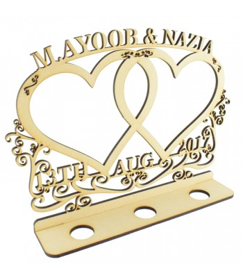 Laser Cut Personalised Double Hearts with Swirl and Flourish Detail- Names and Date on a Tealight Holder Stand - 6mm