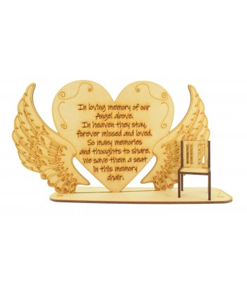 Laser Cut 'In loving memory of our Angel above...' Angel Wings Plaque with Mini Chair
