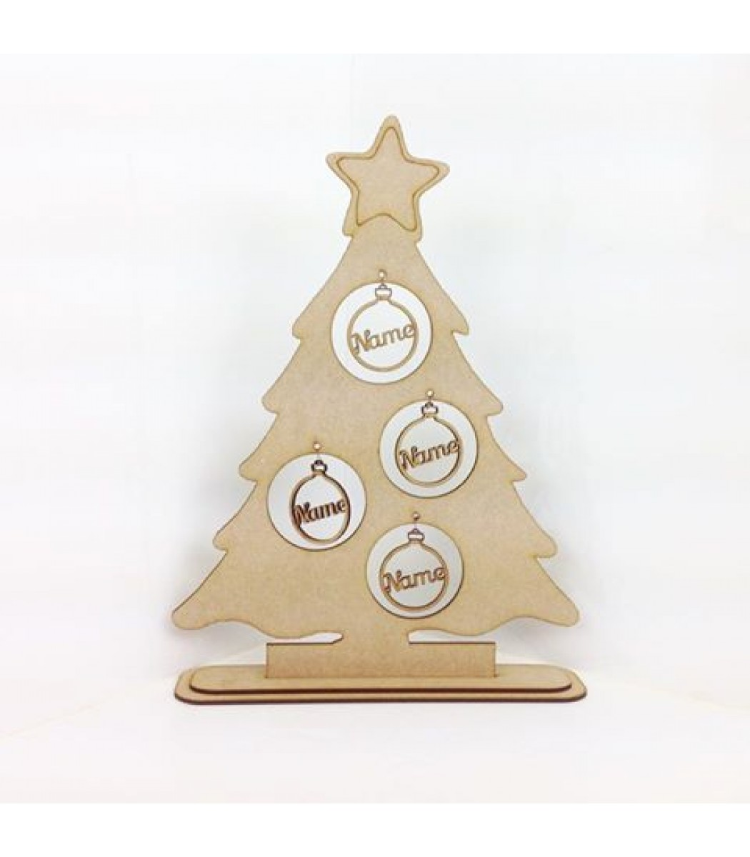 Laser Cut Single Family Christmas Tree On A Stand With Personalised Bauble Decorations 1 5 Names